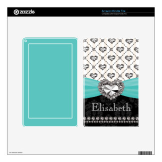 PRINTED Rhinestone Heart Aqua Kindle Fire Skin