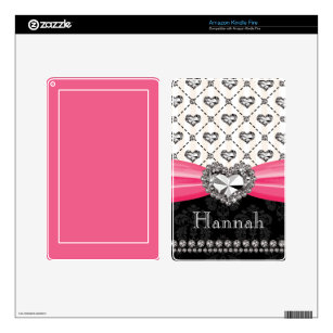 PRINTED Rhinestone Heart Hot Pink Kindle Fire Skin