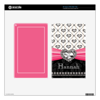 PRINTED Rhinestone Heart Hot Pink Kindle Fire Skin