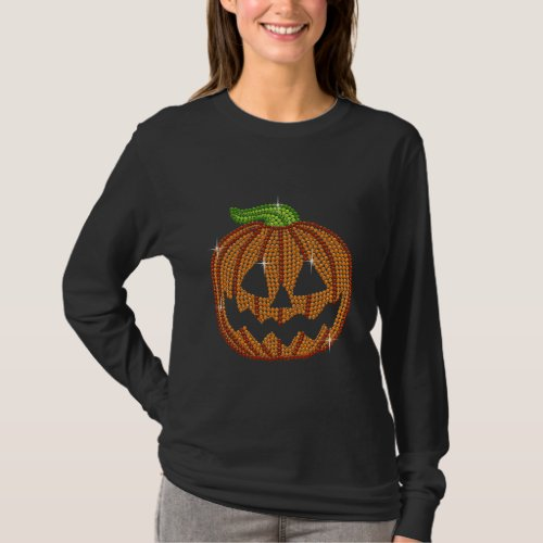 Printed Rhinestone Jackolantern Pumpkin T_Shirt