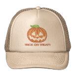 Printed Rhinestone Pumpkin Trick or Treat Trucker Hats