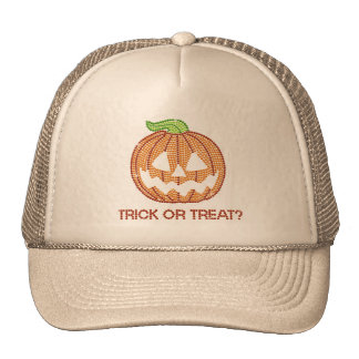 Printed Rhinestone Pumpkin Trick or Treat Trucker Hats