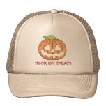 Printed Rhinestone Pumpkin Trick or Treat Trucker Hat