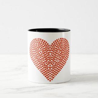 Printed Rhinestone Sparkling Heart Two-Tone Coffee Mug