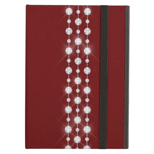 Printed Rhinestones & Your Monogram On Crimson Red Case For iPad Air