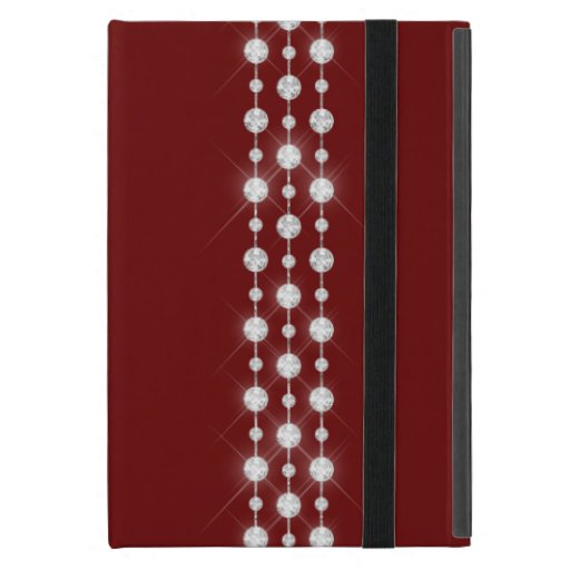 Printed Rhinestones & Your Monogram On Crimson Red Case For iPad Mini