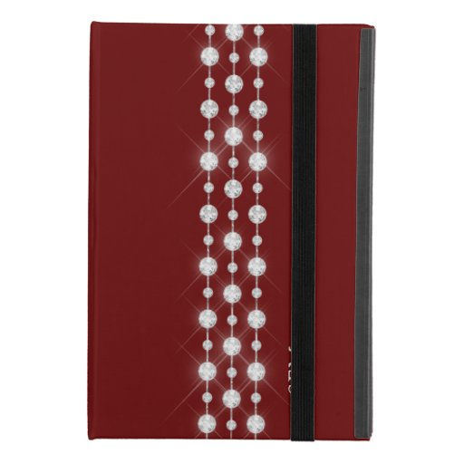 Printed Rhinestones & Your Monogram On Crimson Red iPad Mini 4 Case