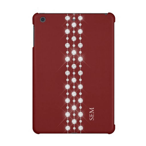 Printed Rhinestones & Your Monogram On Crimson Red iPad Mini Case