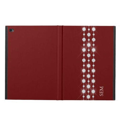 Printed Rhinestones & Your Monogram On Crimson Red Powis iPad Air 2 Case