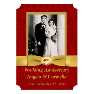 PRINTED RIBBON 40th Wedding Anniversary Invitation