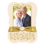 """PRINTED RIBBON 50th Anniversary Invite 5"""" X 7"""" Invitation Card"""