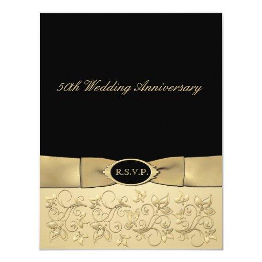 "PRINTED RIBBON 50th Anniversary RSVP Card 4.25"" X 5.5"" Invitation Card"