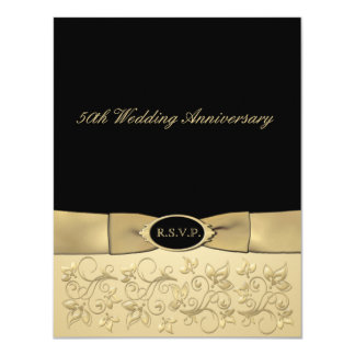 PRINTED RIBBON 50th Anniversary RSVP Card Personalized Invites