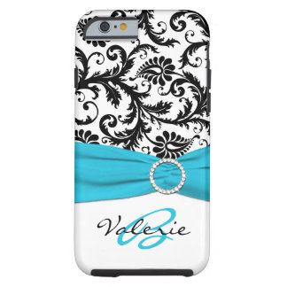 PRINTED RIBBON Aqua, Black, White Floral Damask Tough iPhone 6 Case