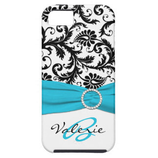 PRINTED RIBBON Aqua, Black, White Floral Damask iPhone 5 Covers