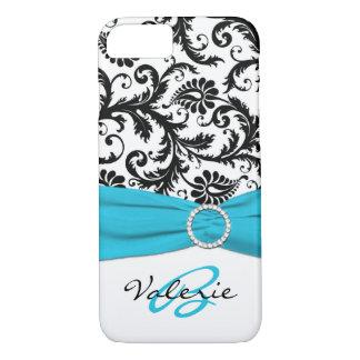 PRINTED RIBBON Aqua, Black, White Floral Damask iPhone 7 Case