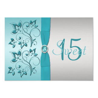 PRINTED RIBBON Aqua, Silver Quinceanera Invite