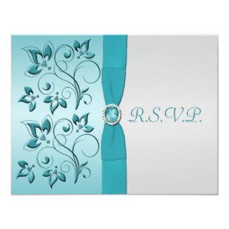 PRINTED RIBBON Aqua, Silver Reply Card