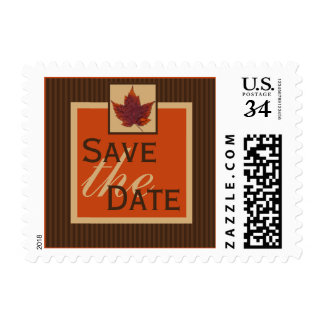 PRINTED RIBBON Autumn Leaf, Stripe Save the Date Postage Stamp