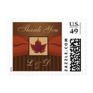 PRINTED RIBBON Autumn Leaf, Stripe Thank You Postage Stamp