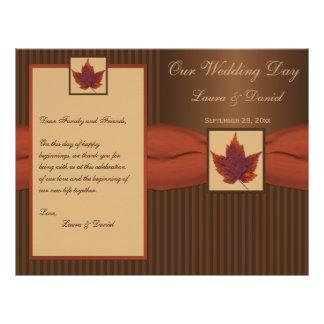 PRINTED RIBBON Autumn Leaf, Stripe Wedding Program Full Color Flyer