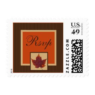 PRINTED RIBBON Autumn Leaf Stripe Wedding RSVP Postage Stamps