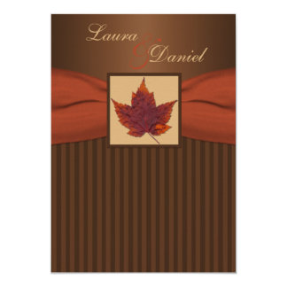 PRINTED RIBBON Autumn Leaf Stripes Wedding Invite