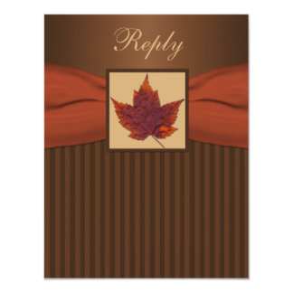 PRINTED RIBBON Autumn Leaf Stripes Wedding RSVP Custom Invitation