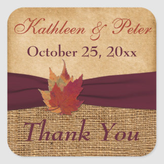 "PRINTED RIBBON Autumn Leaves 1.5"" Sticker 3 - Wine"