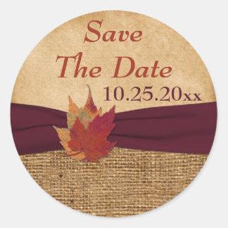 "PRINTED RIBBON, Autumn Leaves, 1.5"" Sticker - Wine"