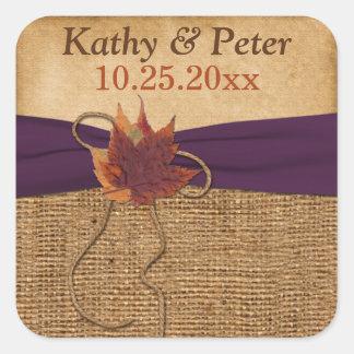 "PRINTED RIBBON Autumn Leaves 1.5"" Wedding Sticker"