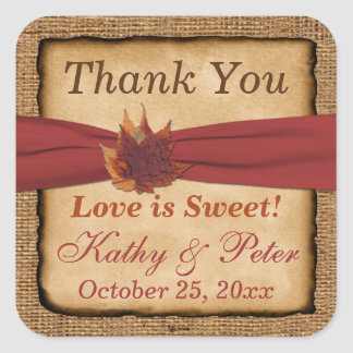 "PRINTED RIBBON Autumn Leaves 1.5"" Wedding Sticker"