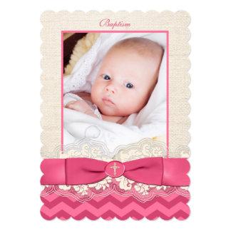 "PRINTED RIBBON Baptism Photo Invite - Pink Chevron 5"" X 7"" Invitation Card"