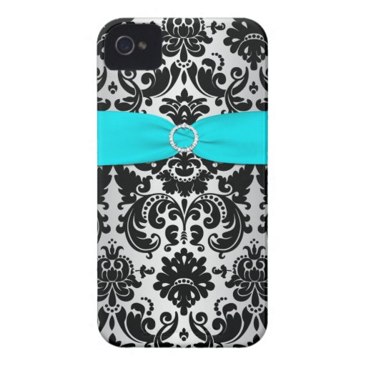 PRINTED RIBBON Black Aqua Silver Damask iPhone 4 iPhone 4 Cases