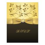 "PRINTED RIBBON Black, Gold RSVP Card 4.25"" X 5.5"" Invitation Card"