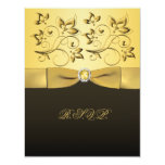 PRINTED RIBBON Black, Gold RSVP Card Invites