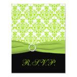 "PRINTED RIBBON Black, Green Damask Reply Card 4.25"" X 5.5"" Invitation Card"