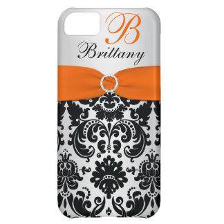 PRINTED RIBBON Black Orange Silver Damask iPhone 5 Case For iPhone 5C