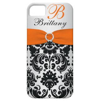 PRINTED RIBBON Black Orange Silver Damask iPhone 5 iPhone SE/5/5s Case