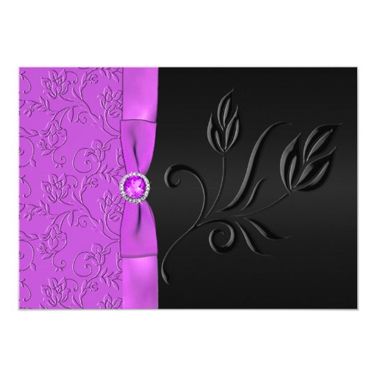 PRINTED RIBBON Black, Purple Floral Wedding Invite
