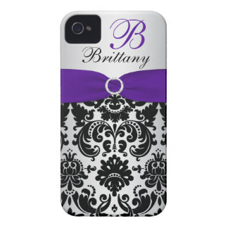 PRINTED RIBBON Black Purple Silver Damask iPhone 4 iPhone 4 Cover