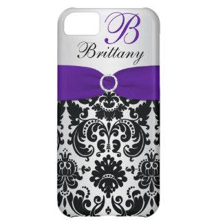 PRINTED RIBBON Black Purple Silver Damask iPhone 5 iPhone 5C Cases