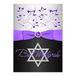 PRINTED RIBBON Black, Silver, Purple Floral Card