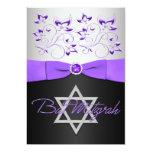 "PRINTED RIBBON Black, Silver, Purple Floral 5"" X 7"" Invitation Card"