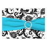 PRINTED RIBBON Black White Blue Damask Reply Card