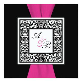 PRINTED RIBBON Black, White, Pink Damask Invite