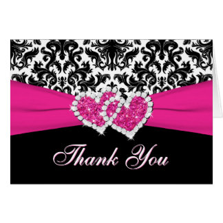 PRINTED RIBBON Black White Pink Thank You Card Greeting Cards