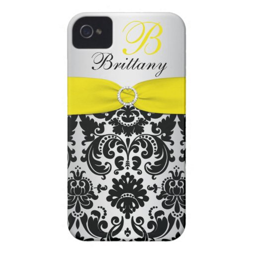 PRINTED RIBBON Black Yellow Silver Damask iPhone 4 iPhone 4 Case-Mate Case