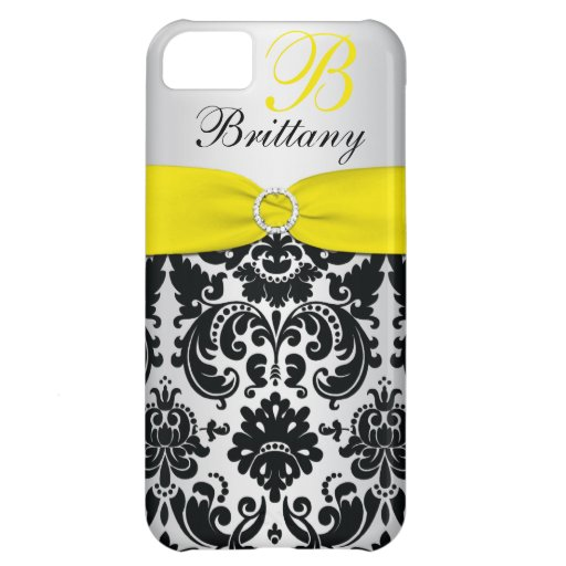 PRINTED RIBBON Black Yellow Silver Damask iPhone 5 Case For iPhone 5C