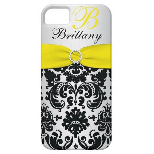 PRINTED RIBBON Black Yellow Silver Damask iPhone 5 iPhone 5 Case